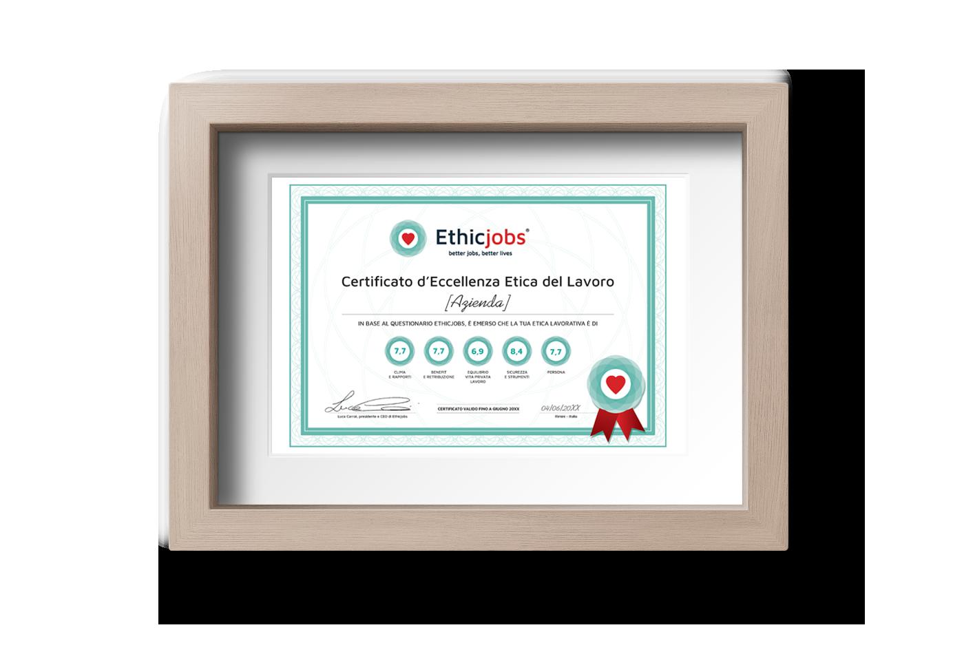 Certificato d'eccellenza Etica del lavoro